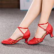 Niet Aanpasbare - Voor dames - Dance Schoenen ( Zwart/Rood ) - met Chunky Hak - en Latijn