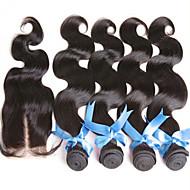Haar-Einschlagfaden mit Verschluss Brasilianisches Haar Große Wellen Haar webt