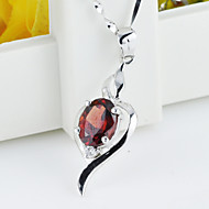 Women's Sterling Silver Necklace With Garnet SG0001P