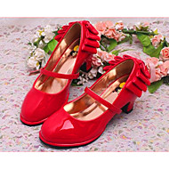 Girls' Shoes Dress/Casual Round Toe Faux Leather Pumps/Heels Black/Red