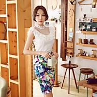 Kvinders Bodycon/Med tryk Asymmetrisk Nederdele Spandex/Polyester