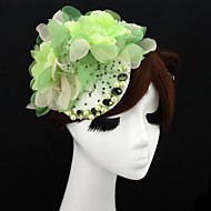 Handmade Green Chiffon Rhinestone Lace Flower Feather Hair accessories Bridal Wedding Fascinator