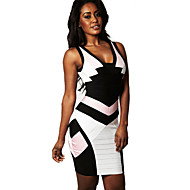 Alice&Elmer Rayon Short/Mini V-Neck Sheath/Column Bandage Dress