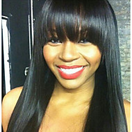 Fashionable 20inch Virgin 100% Brazilian Human Hair Full Lace Natural Black Color Silky Straight With Bang Wigs