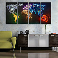 E-HOME® Stretched Canvas Art Color Map Decoration Painting  Set of 4