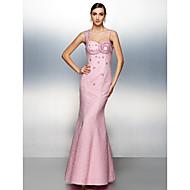 Dress - Candy Pink Plus Sizes / Petite Sheath/Column Straps Floor-length Lace