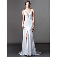 Lanting Bride Lanting A-line Wedding Dress - Ivory Sweep/Brush Train V-neck Satin Chiffon