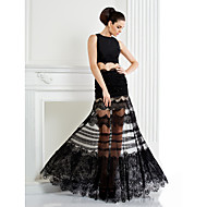 Homecoming Formal Evening Dress - Black A-line Jewel Floor-length Lace/Satin