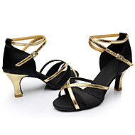 Customizable Women's Dance Shoes Satin Satin Latin / Dance Sneakers Heels Cuban Heel Indoor / Performance Black / Blue / Brown / Red