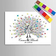 e-Home® personlige fingeraftryk maleri lærred udskriver - påfugl hånd tegning (omfatter 12 blækfarver)