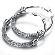 30mm Stainless Steel Ladies Stud Earrings Set, 2pcs,Silver, KE891