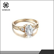 Ring Fashion Wedding / Party Jewelry Cubic Zirconia / Platinum Plated Women Statement Rings 1pc,One Size Gold