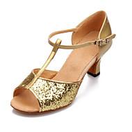 Non Přizpůsobitelné - Dámské - Taneční boty - Latina - Koženka / Flitry - Masivní podpatek - Černá / Modrá / Červená / Stříbrná / Zlatá