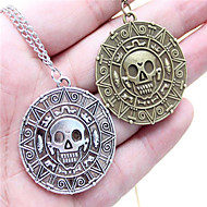 Gold Coin Aztec Skull Pendant Necklace(Color 3)(1Pc)
