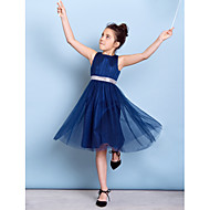 Knee-length Tulle Junior Bridesmaid Dress - Dark Navy A-line Jewel