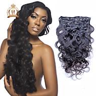 """10 """"-20"""" brazilian maagd haar body wave clip in human hair extensions natuurlijke zwarte baby hair"""