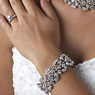 Luxurious Diamond/Rhinestone Aolly Silver Bracelet For Women Lades Bridal Birthday GIft Party Beach Wedding Dance