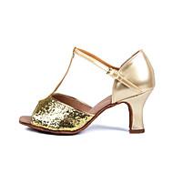 Chaussures de danse(Argent Or) -Personnalisables-Talon Personnalisé-Satin-Latine Salon Salsa