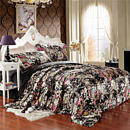 Floral in Black Silk Duvet Cover Set Queen King Size