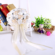 Elegant Hand Made Decorative Silk Rose Flower Bride Bridal Crystal Wedding Bouquets Accessaries Party Decor