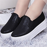 Women's Shoes Flat Heel Round Toe Loafers Casual Black/Silver