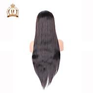 """10 """"26"""" glueless Spitzefrontseitenperücke gerade brasilianische reine Haarfarbe # 2 dunkelbraun Babyhaar für schwarze Frauen"""