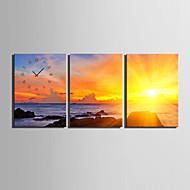 E-HOME® The Evening In The Seashore Clock in Canvas 3pcs