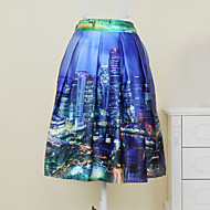 Women's Vintage/Print Knee-length Skirts , Microfiber Stretchy