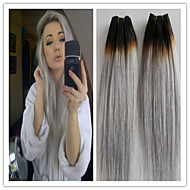 3Pcs/Lot Brazilian Straight Virgin Hair Platinum Grey Hair Extension Human Hair Extensions Silver Grey Hair Weaves