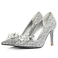 Women's Shoes Glitter Stiletto Heel Heels/Pointed Toe Flats Wedding/Dress Silver