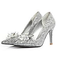 Calçados Femininos - Sapatilhas - Saltos / Bico Fino - Salto Agulha - Prateado - Gliter - Casamento / Social