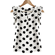 Women's Ruffle Casual/Daily/Plus Size Simple Summer Blouse,Polka Dot Round Neck Short Sleeve White Polyester Translucent