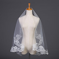 Wedding Veil One-tier Elbow Veils Lace Applique Edge 59.06 in (150cm) Tulle White White