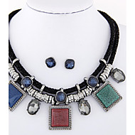 Women's European Style Fashion Trend Metal Simple Square Necklace Earrings Set