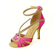Customizable Women's Dance Shoes Satin Satin Latin / Salsa Sandals Customized Heel Practice / Beginner / Professional / IndoorBlack /