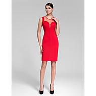 Cocktail Party Dress - Ruby/Black Sheath/Column Jewel Knee-length Polyester