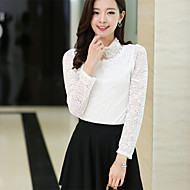 Women's Patchwork/Lace White/Black Blouse , Stand Long Sleeve Lace