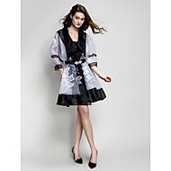 Homecoming Cocktail Party Dress - Black A-line V-neck Knee-length Stretch Satin/Georgette