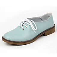 נעלי נשים - אוקספורד - עור - מעוגל - שחור / כחול / צהוב / אדום / כתום - קז'ואל - עקב שטוח
