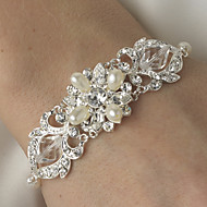Luxurious Diamond/Rhinestone Silver Aolly Water Feash Pearls Bracelet For Women Lades Bridal Wedding Dance