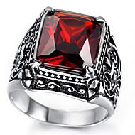 Mens Stainless Steel Ring, Vintage, Red, Crystal KR2019