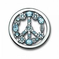 """סגסוגת 33 מ""""מ מתנת יום ולנטיין כסף מיל Moneda מצופה מטבע סימן שלום קריסטל כחול ל35mm תליון בעל"""