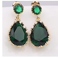 Elegant Teardrop Shape Emerald Swiss Cubic Zirconia Bridal Women's Dangling Earrings