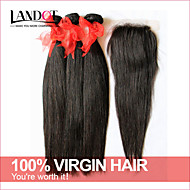 6A unprocessed Brazilian virgin hair straight with closure 3 bundles with 4*4 lace closure human hair weave with closure