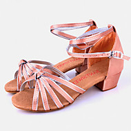 Children's Dance Shoes Sandals Satin  Chunky Heel Camel