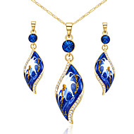 HKTC 18k Yellow Gold Plated Use Austrian Crystal Blue Leaf Shape Pendant Necklace and Earring Set