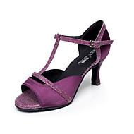 Chaussures de danse(Noir Violet) -Non Personnalisables-Talon Bobine-Satin-Latine Salsa