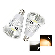 2 pcs  E14 6W 1X COB 50-150LM 2800-3500/6000-6500K Warm White/Cool White Spot Lights AC 220-240V