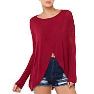 Mulheres Camiseta Decote Redondo Manga Longa Malha Mulheres