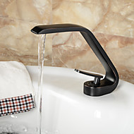 Contemporary Style Single Handle One Hole ORB Hot and Cold Water Bathroom Sink Faucet - Black